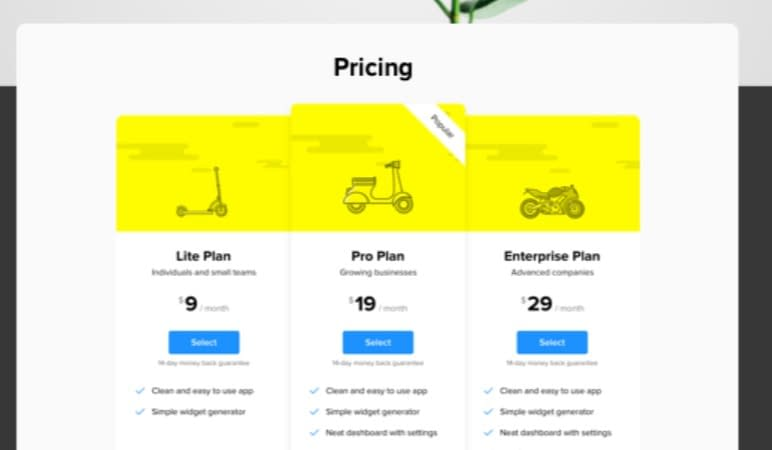 squarespace pricing table plugin