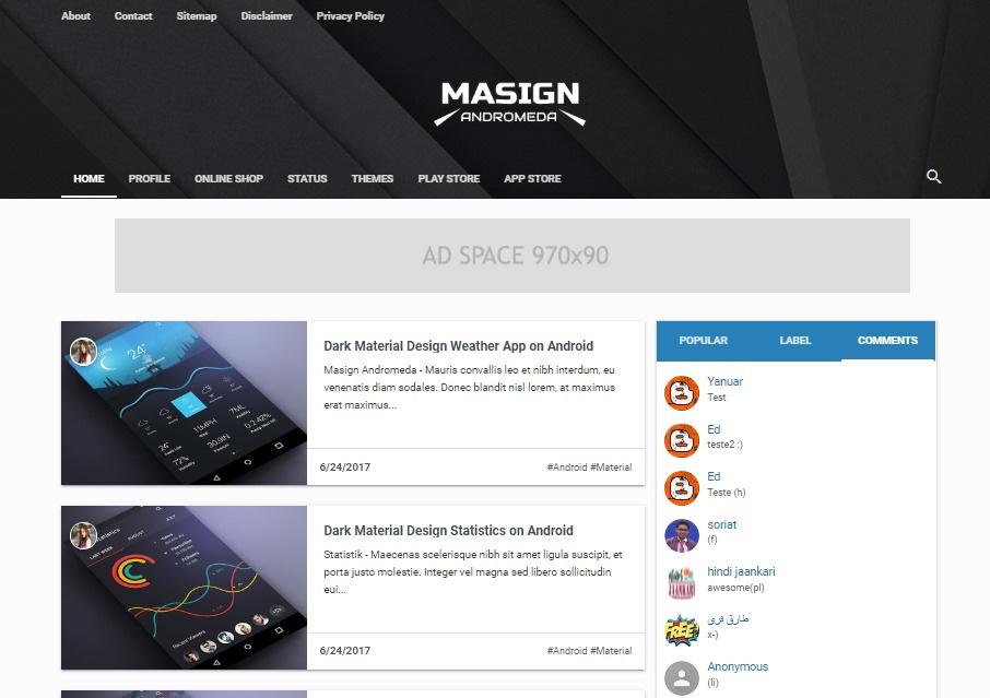 Masign Andromeda Responsive Blogger Template